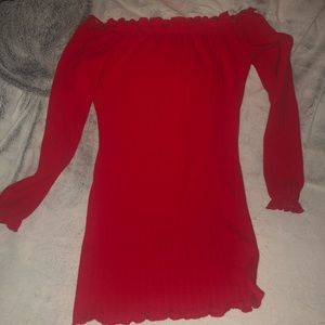 Fiery Red Off the Shoulder Dress